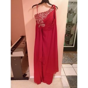 Beaded Crystal Assymetrical Red Prom Dress Size 10